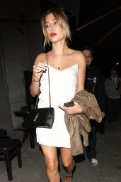 Hailey Baldwin in White Mini Dress at Craig