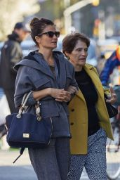 Helena Christensen With Her Mother - Out in West Village, April 2015