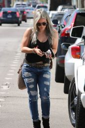 Hilary Duff in Ripped Jeasn - at a Studio in Hollywood, April 2015