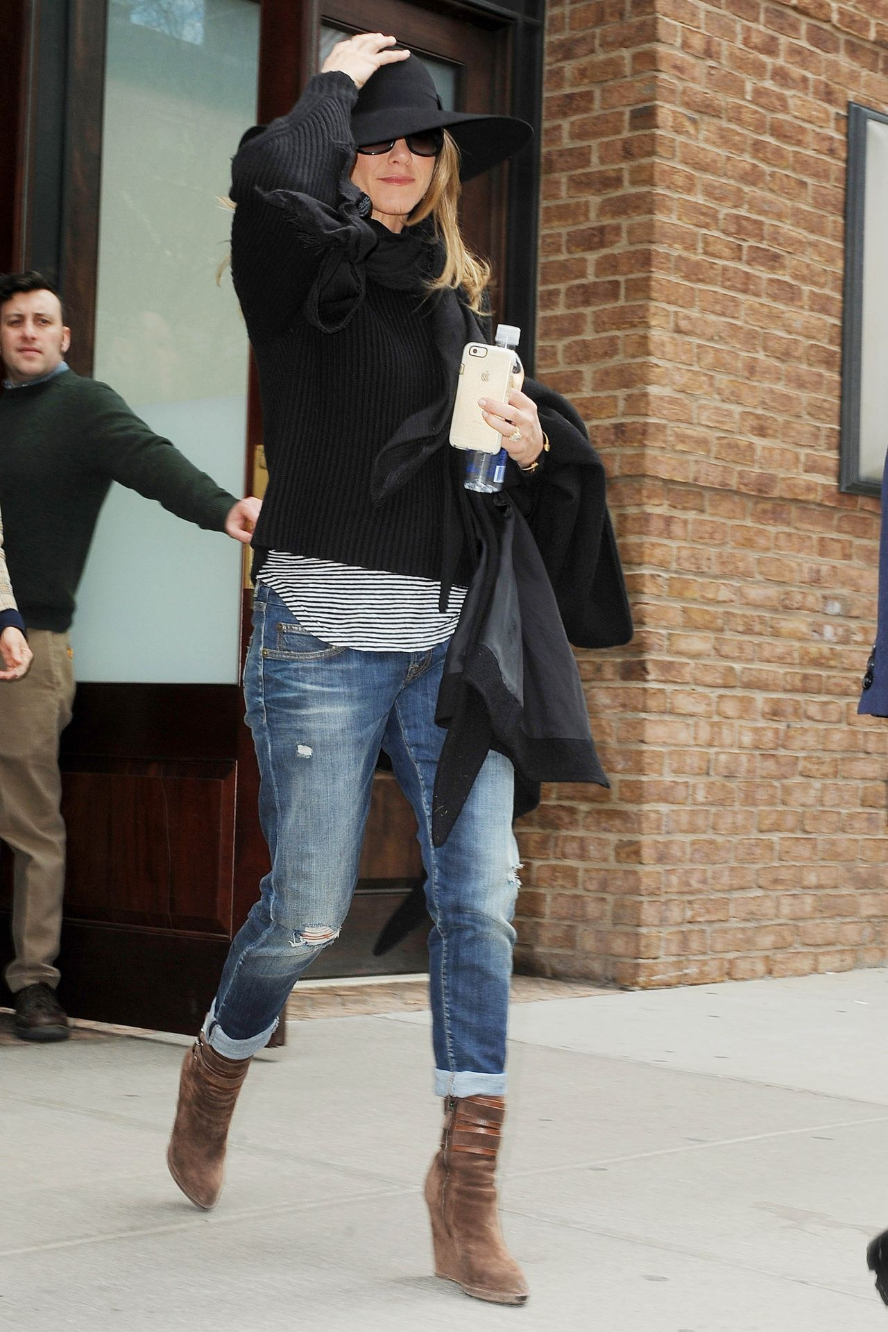 Jennifer Aniston In Jeans Out In Nyc April 2015
