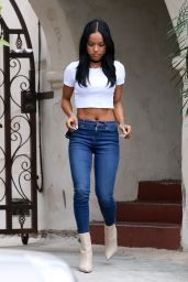 Karrueche Tran in Tiny Top & Tight Jeans - Out In West Hollywood, April 2015