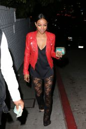 Karrueche Tran Night Out Style - Leaving Chateau Marmont in West Hollywood, April 2015