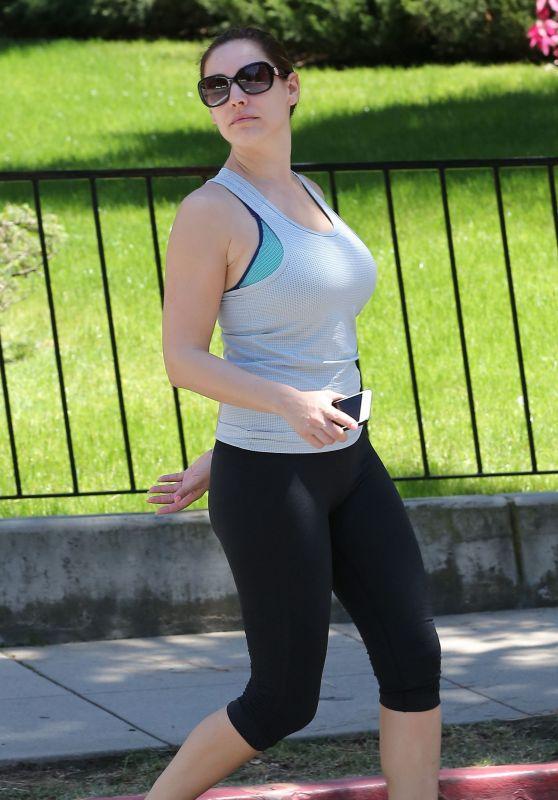 Kelly Brook in Leggings - at Runyon Canyon Park in LA, April 2015