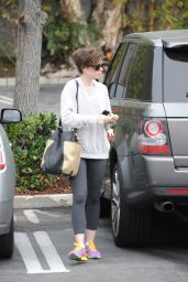 Lily Collins in Leggings -Out in LA, April 2015