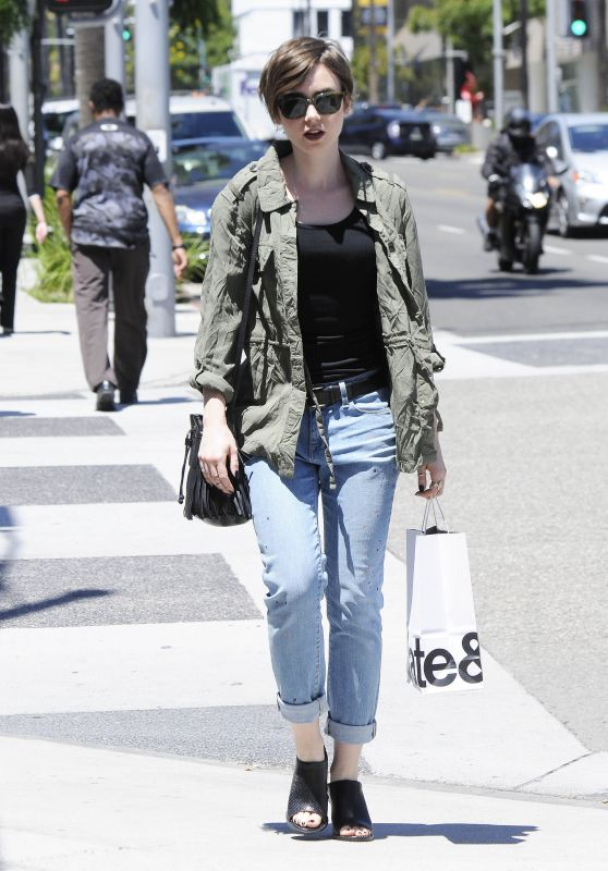 Lily Collins Spring Street Style - Out in Beverly Hills, April 2015