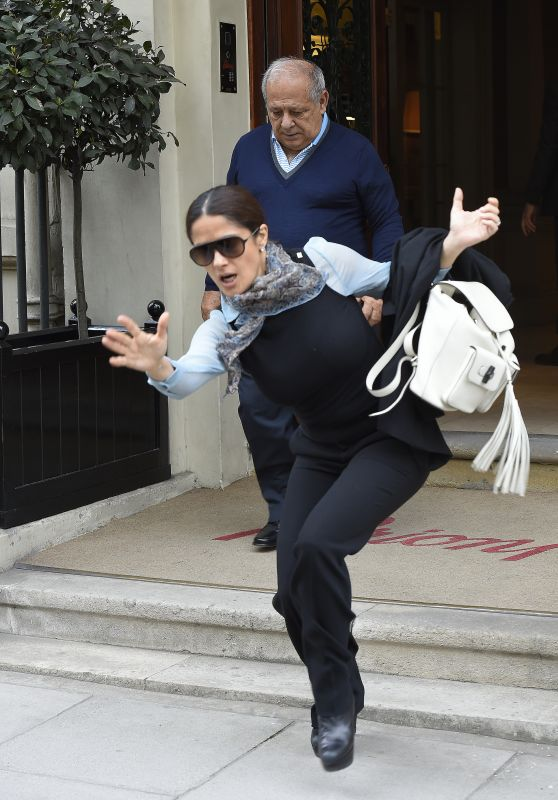Salma Hayek - Almost Falls Head Over Heels - London, April 2015