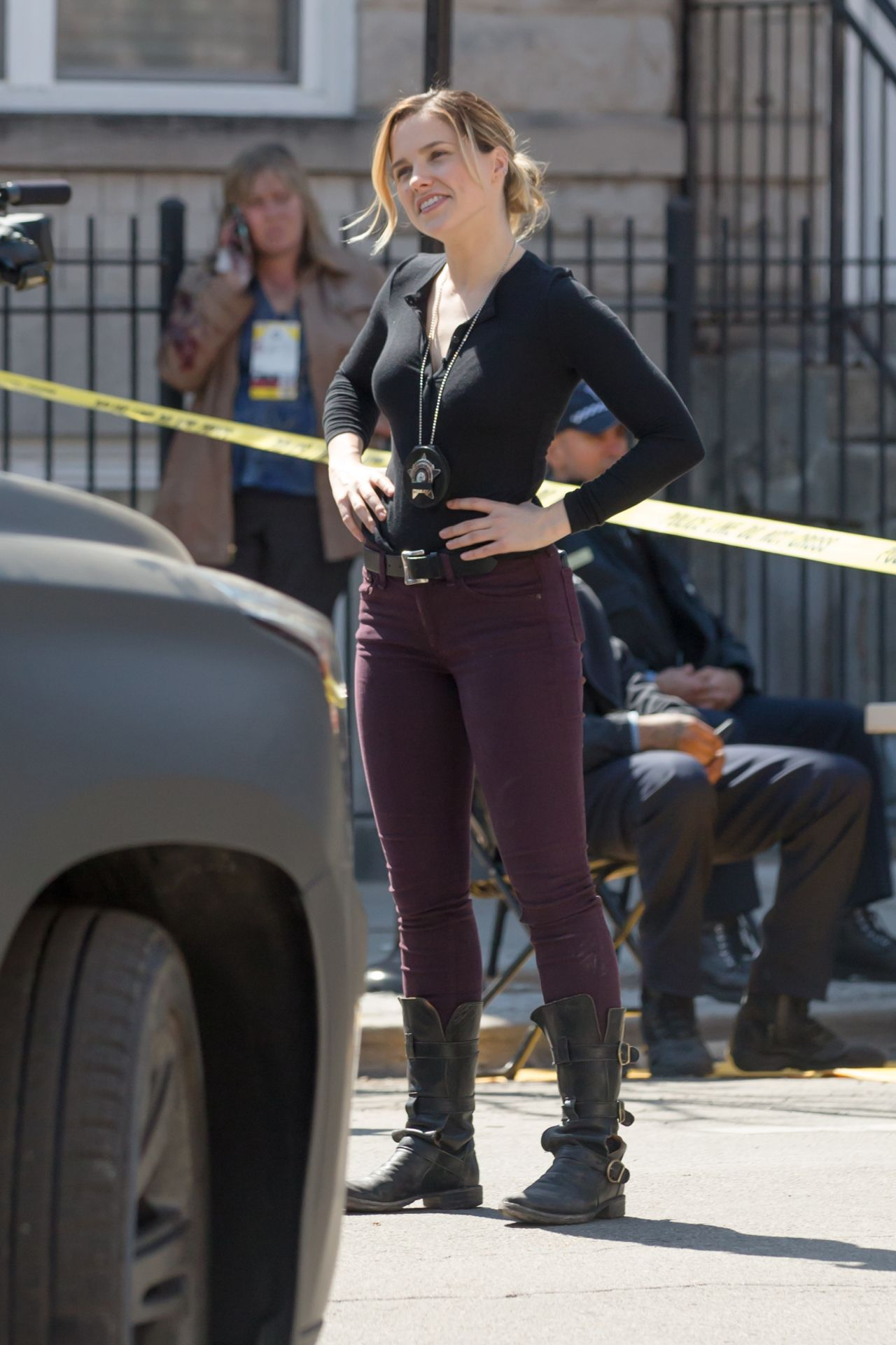 Sophia Bush On the Set of 'Chicago PD' in Chicago, April 2015