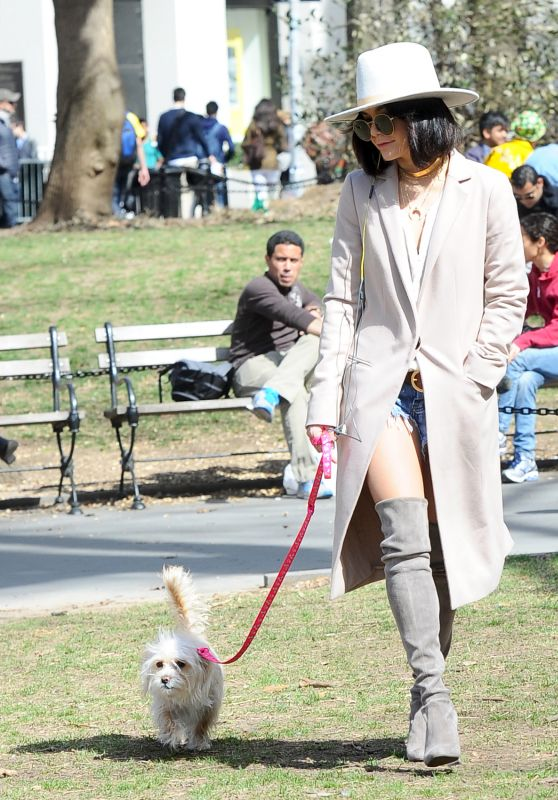 Vanessa Hudgens Walking Her Dog at Washington Square Park in New York, April 2015