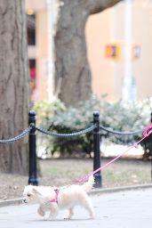 Vanessa Hudgens Walking Her Dog at Washington Square Park in New York, April 2015