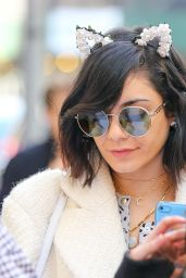 Vanessa Hudgens Wearing Cat Ears and Thigh High Boots in NYC, April 2015
