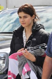 Alexandra Daddario - The Layover Set Photos - Vancouver, April 2015