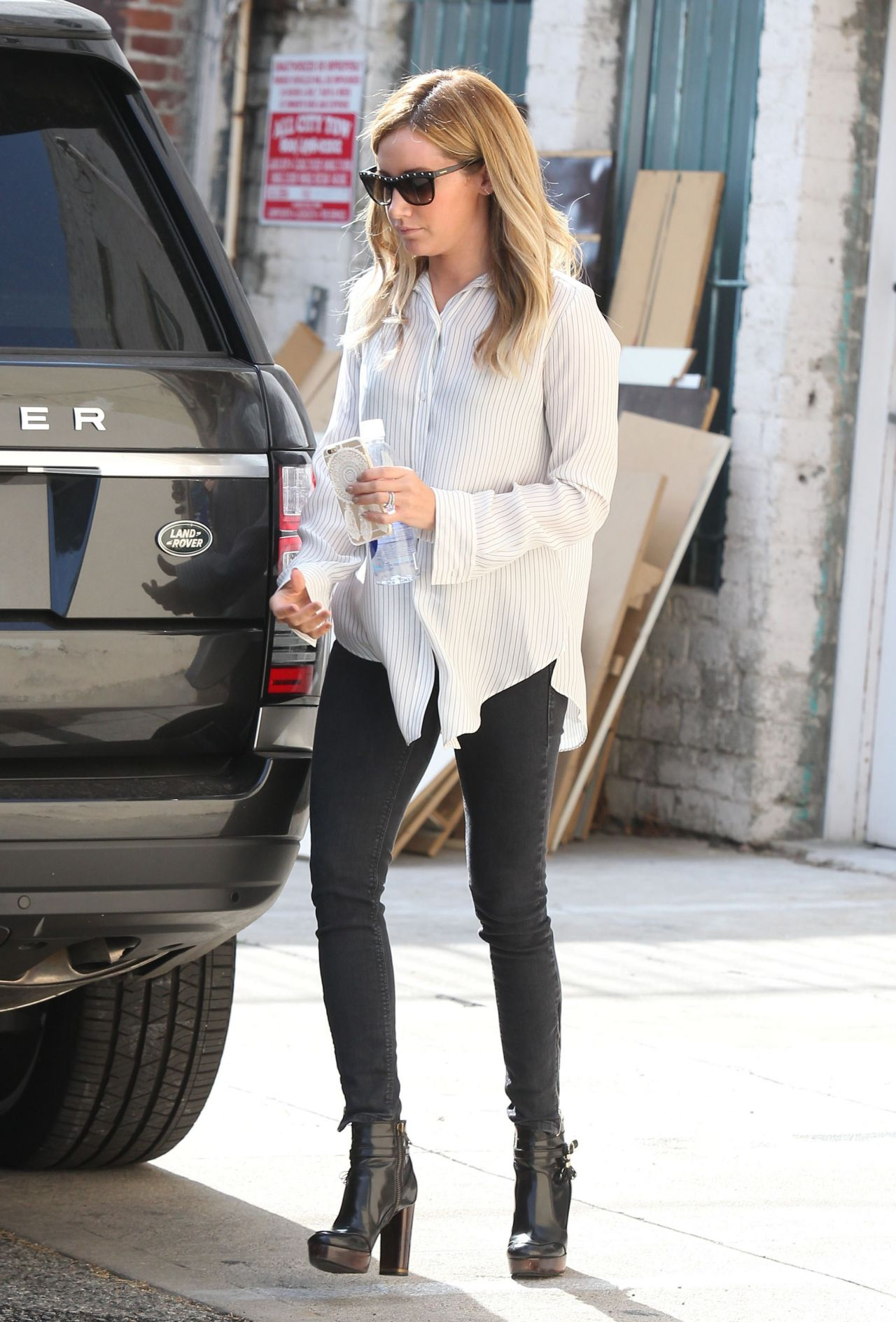 Ashley Tisdale Casual Style - Leaving a Salon in Los ...