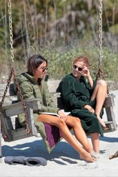 Aubrey Plaza and Zoey Deutch on the set of