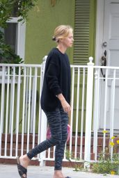 Charlize Theron in Leggings - Coffee Run in Hollywood, May 2015