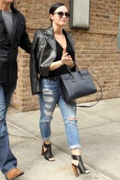 Demi Lovato in Ripped Jeans - Out in NYC, May 2015