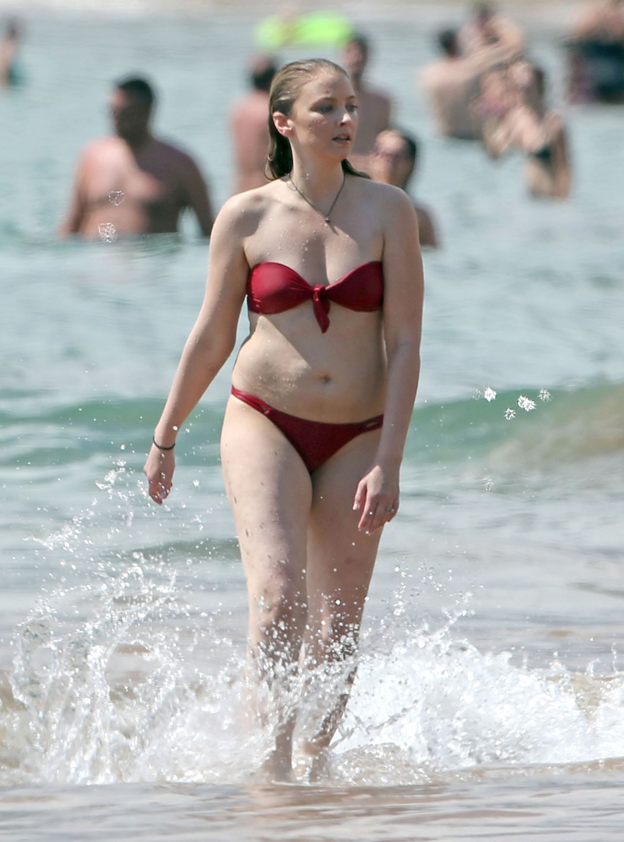 Elisabeth Harnois In Red Bikini At The Beach, May 2015-8042