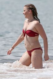 Elisabeth Harnois in Red Bikini at the Beach, May 2015