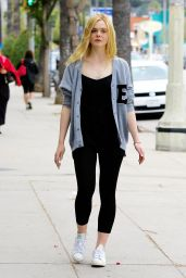 Elle Fanning in Leggings - Out in Studio City, May 2015