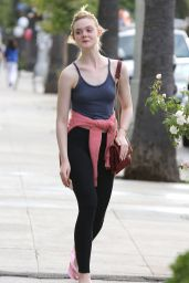 Elle Fanning in Tights - Leaving a Salon in Studio City, May 2015