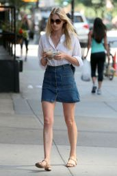 Elsa Hosk in Jeans Mini Skirt - Out in NYC, May 2015