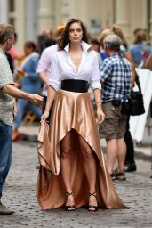 Emily Didonato - Filming a Maybelline Commercial in SoHo, May 2015