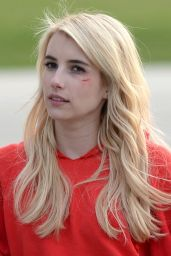 Emma Roberts on the set of