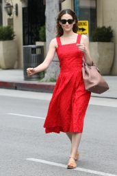 Emmy Rossum in Red Dress - Beverly Hills, May 2015
