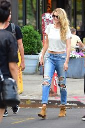 Gigi Hadid in Ripped Jeans - Out in Soho, NYC, May 2015