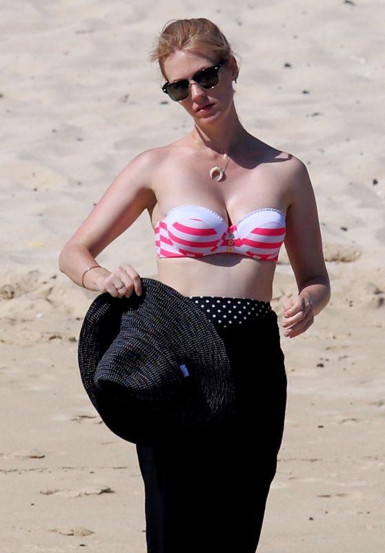 January Jones at a Beach in Hawaii, May 2015