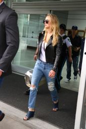 Jennifer Lawrence in Ripped Jeans at Trudeau International Airport in Montreal, May 2015