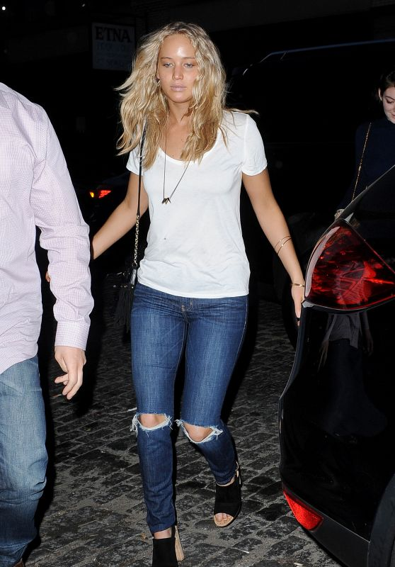 Jennifer Lawrence in Ripped Jeans - Out in New York City, April 2015