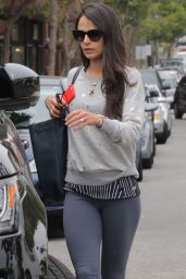 Jordana Brewster in Leggings - Leaving a Gym in Brentwood, May 2015