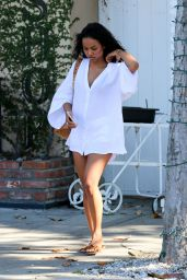 Karrueche Tran Showing Legs at Somerville Spa in Beverly Hills, April 2015