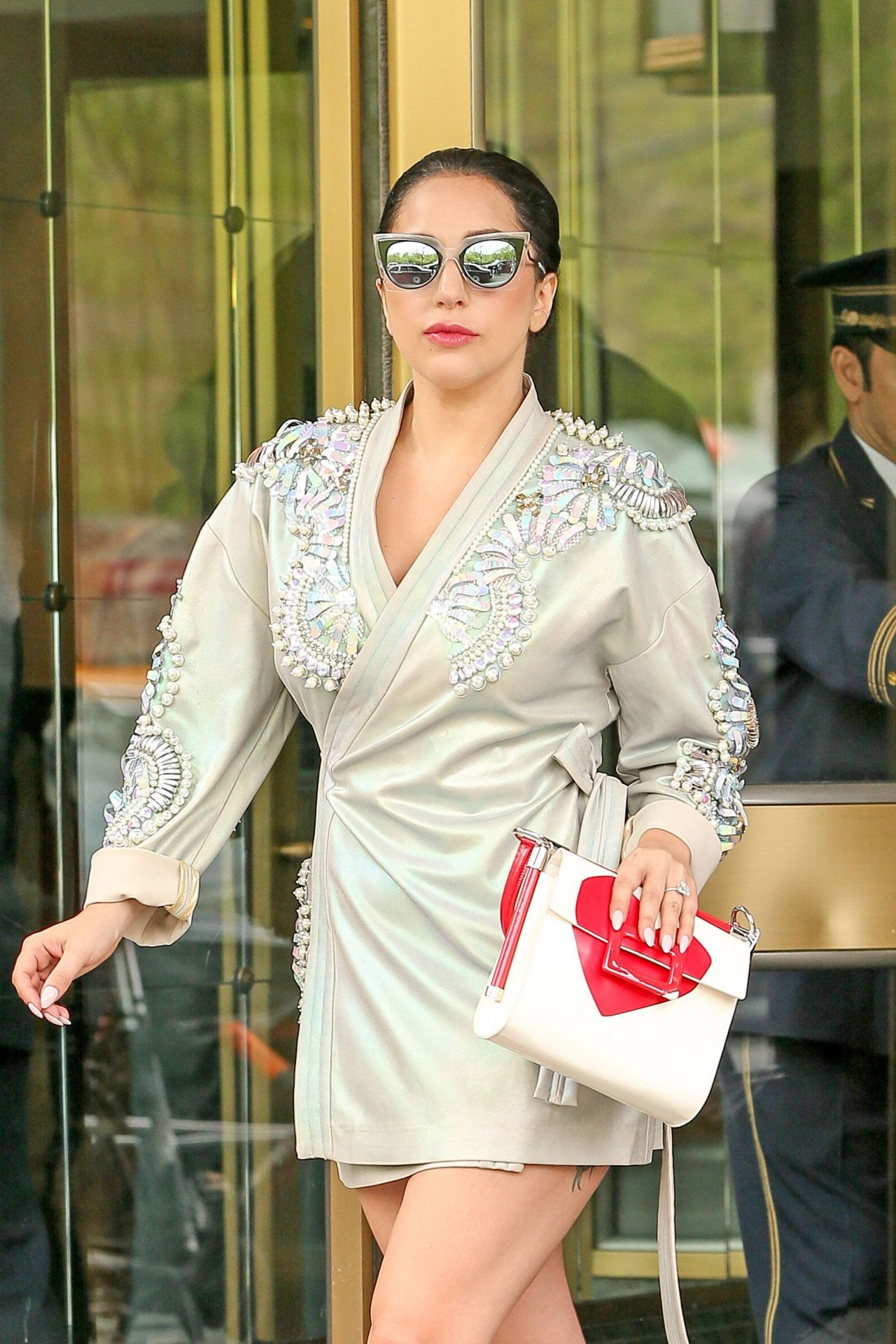 Lady Gaga Shows Off Her Legs In Mini Dress New York May