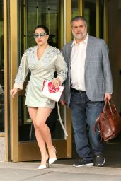 Lady Gaga Shows Off Her Legs in Mini Dress - New York, May 2015