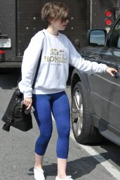 Lily Collins in Blue Leggings - Out in Los Angeles, May 2015