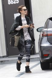 Lily Collins in Leggings - Leaving a Gym in West Hollywood, May 2015