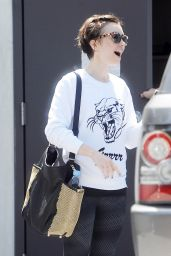 Lily Collins Leaving a Gym in West Hollywood, May 2015