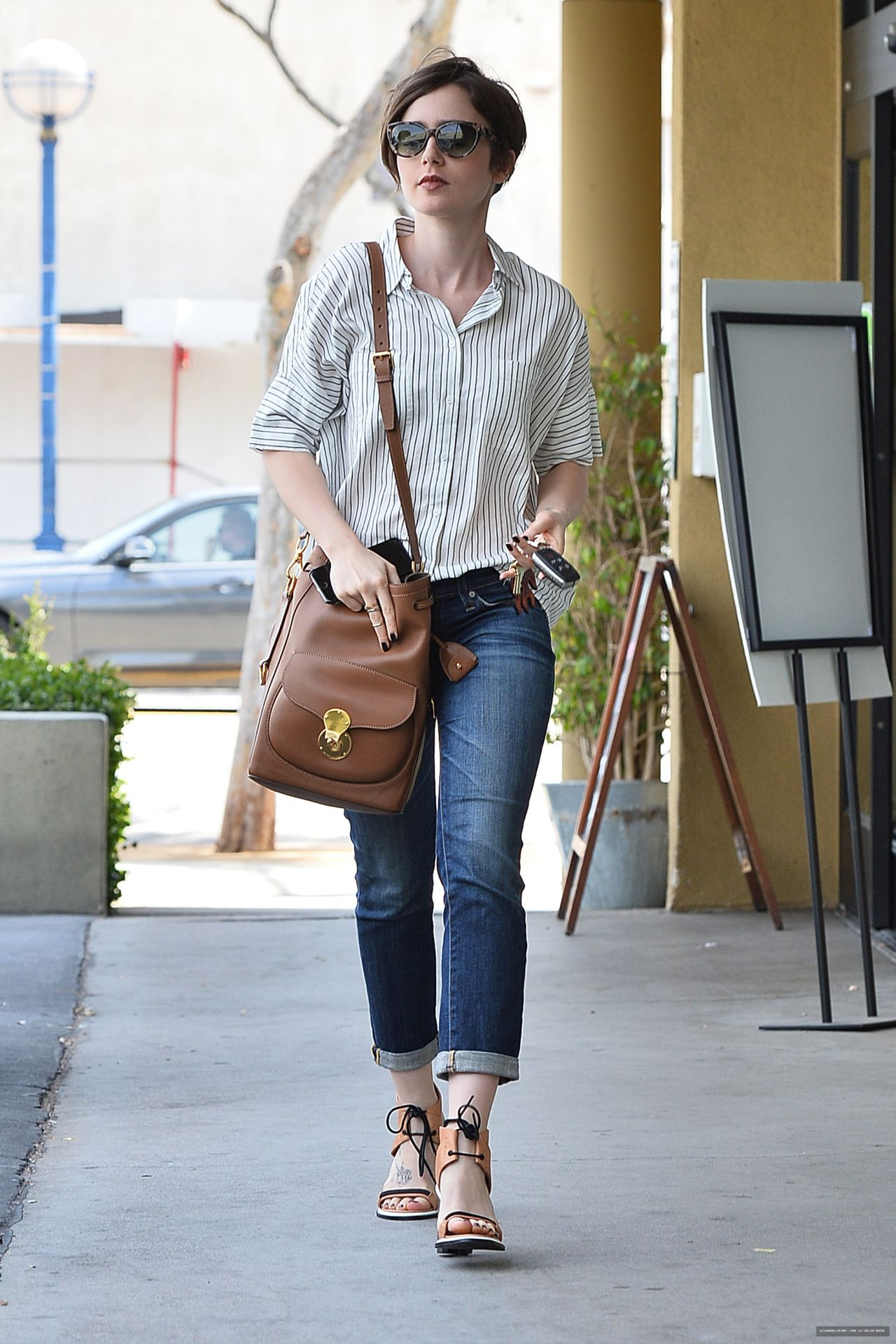 lily collins street style leaving earthbar in west