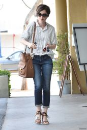 Lily Collins Street Style - Leaving EarthBar in West Hollywood, May 2015