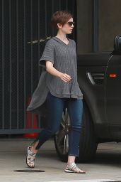 Lily Collins Visiting Friends in Larchmont Village in Los Angeles, May 2015