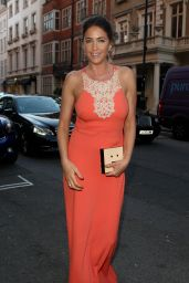 Lisa Snowdon - Arriving at Claridges in an Orange Dress, May 2015