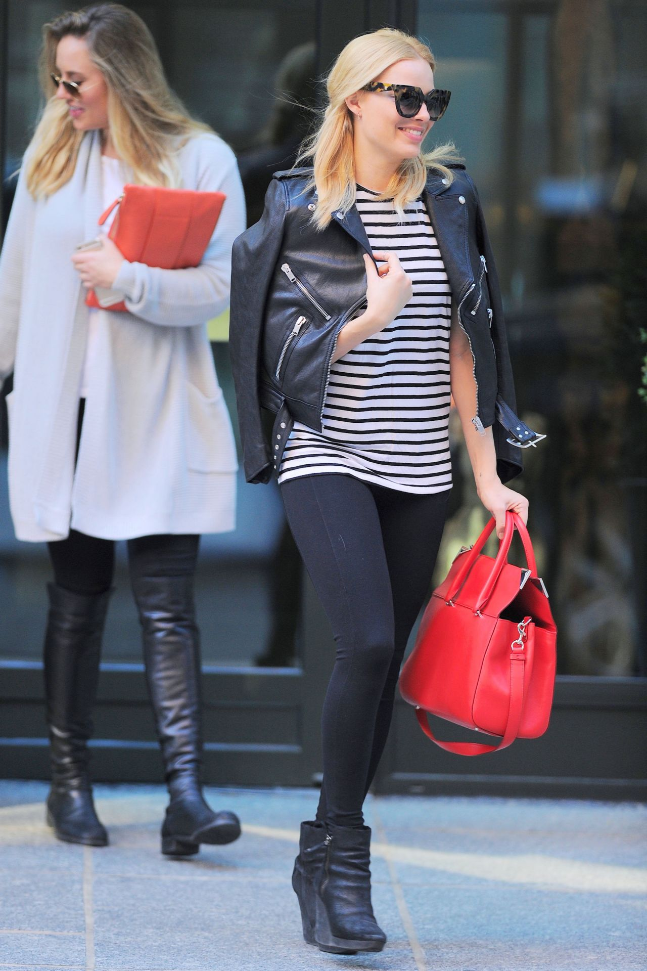 Margot Robbie In Tights Out In New York City May 2015