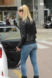 Michelle Hunziker - Catching a Taxi With a Friend in Milan, May 2015