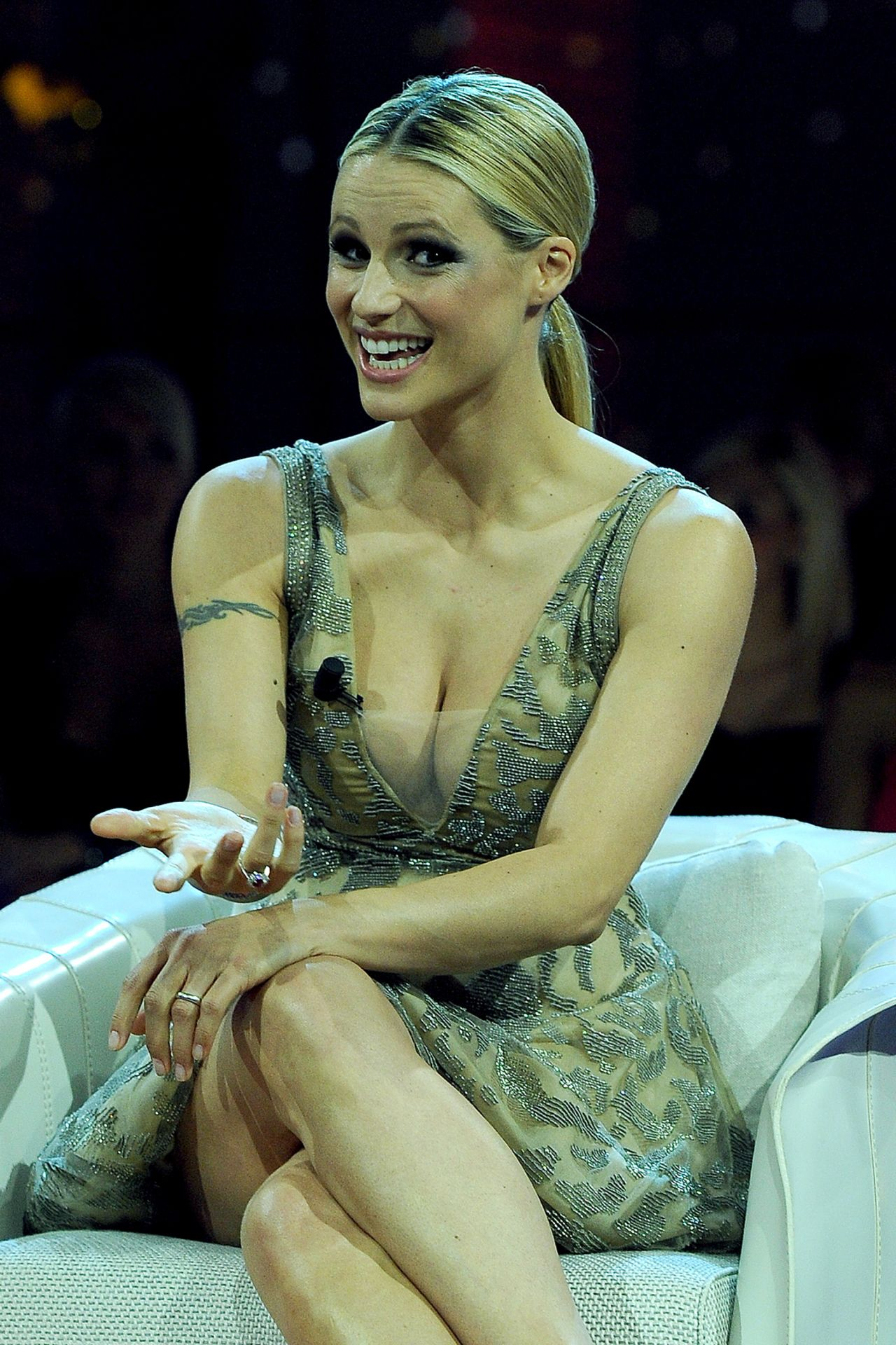 Michelle Hunziker Guest in TV Show in Milan, May 2015 Giorgio Armani