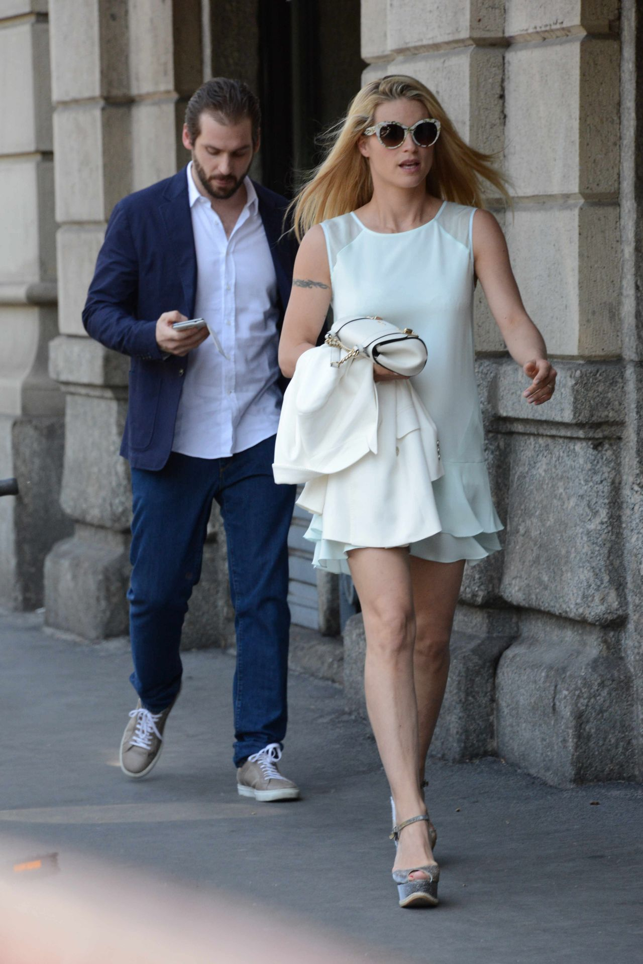 Michelle Hunziker Amp Tomaso Trussardi Out On Mother S Day