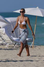 Natasha Oakley in a White Bikini at a beach in Miami, May 2015