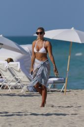 Natasha Oakley in a White Bikini at a beach in Miami, May 2015