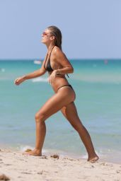 Natasha Oakley in Black Bikini at a Beach in Miami, May 2015