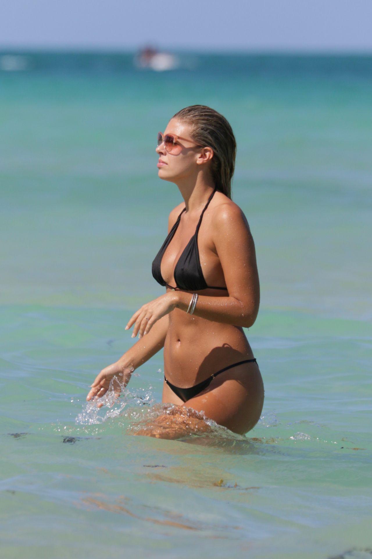 Natasha Oakley In Black Bikini At A Beach In Miami May 2015